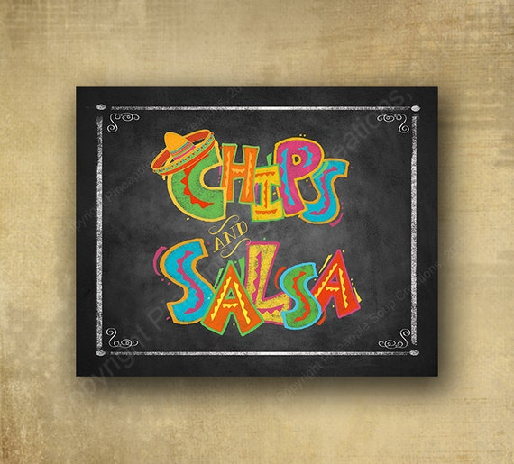 PRINTED Fiesta Style Chips and Salsa chalkboard looking sign, Fiesta party signage, graduation sign, wedding sign, Fiesta Grad sign