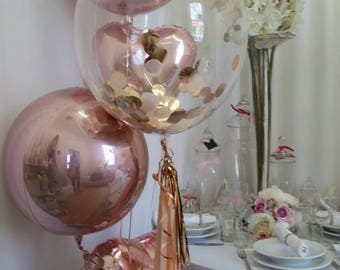Rose Gold Confetti Clear Bubble Balloon 61cm with Balloon Tassles DIY kit