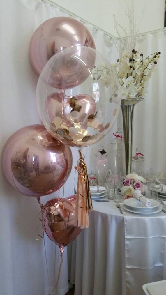 Rose Gold Confetti Clear Bubble Balloon