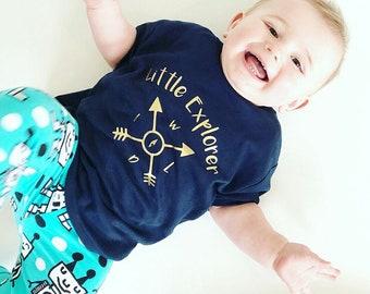 Little Explorer. Handmade T-shirt.