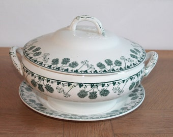 Vintage Soup Tureen, French Tureen, Green Transferware, Transferware Tureen, Tureen Bowl, White Ironstone Bowl, Earthenware, French Kitchen