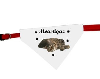 Necklace personalized with name cat bandana