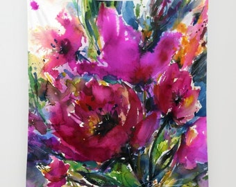 """Pink Flower Painting, Poppy Poppies Art, Large Wall Tapestry . Original Floral flower """"Jubilation"""" by Kathy Morton Stanion  EBSQ"""