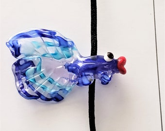 Hand Crafted Blue Glass Lampwork Koi Fish Pendant
