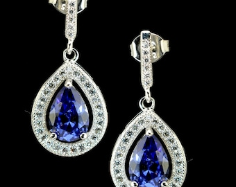 Tanzanite Pear Shape Dangle Earrings in .925 Sterling Silver (Exclusive Style)