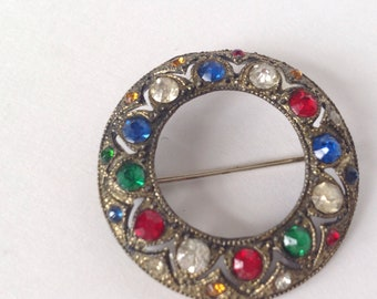 Vtg. Circle Brooch, Multicolored Rhinestone, Ornate Pin, Wreath Pin, Lapel Victorian Jewerly