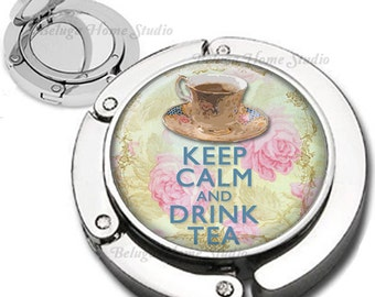 Keep Calm and Drink Tea Foldable Purse Hook Bag Hanger With Lipstick Compact Mirror