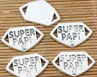 20pcs tibetan silver tone SUPER PAPI lettering connector EF1712