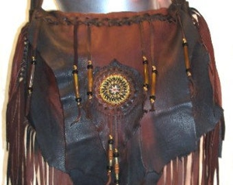 "Ready to Ship!! Leather Marsala Brown Handbag Deerskin Renaissance Beaded Fringe Purse Hobo Bag ""MEMI'S FAVORITE"" Handmade by Debbie Leather"