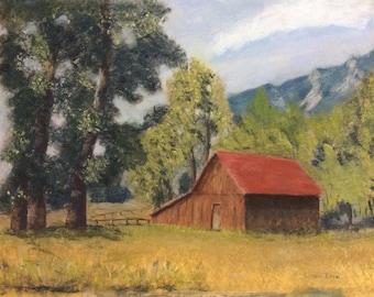 Boulder Barn - original pastel painting