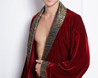 Men's Wine Red Classic Brocade Design Velvet Kimono Robe, Bath Robe, Groom Gown, Homewear, Hospital Gown