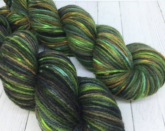 DK YARN Hand Dyed Wool Yarn 8 Ply - Swamp Monster