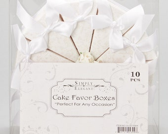 10 White Cake Favor Boxes