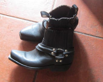 womens sz 4 biker ankle boots excellent mexico all leather leather sole