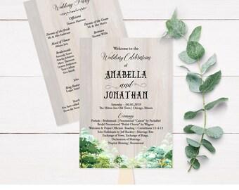 Greenery Wedding Program, Forest Wedding Program, Rustic Wedding Programs, Wedding Program Fans, Wedding Program Template, Digital PDF, L1