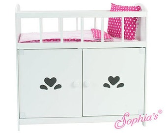 Baby Doll Crib and Storage Cabinet Ensemble for 18″ dolls