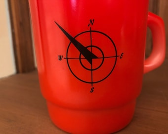 Fire king Compass / Northwest Airline Red Mug HTF