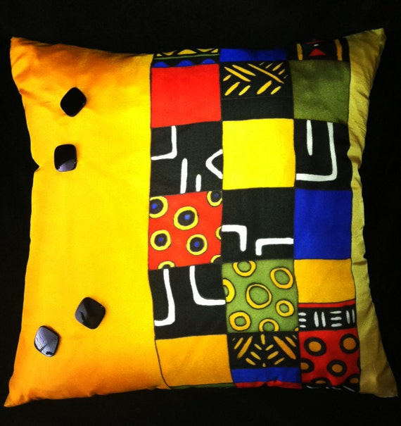 "Throw Pillow, Hand Painted Silk - ""BUTTONS""  -Made to Order"