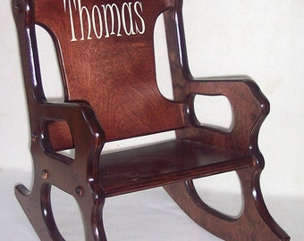Wooden Kids Rocking Chair- personalized - cherry finish