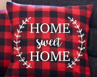 Home Sweet Home Plaid Pillow Case