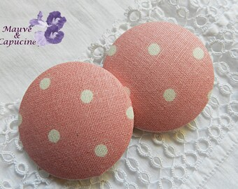 Fabric button pink with white polka dots, 40 mm / 1.57 in