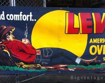 Vintage 50's Levis Denim Store Banner Silkscreen Cowboy Advertisment
