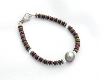 Bracelet Rainbow Tahitian pearls