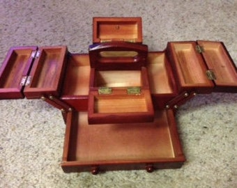 Vintage expandable wood sewing box with 160 piece collection