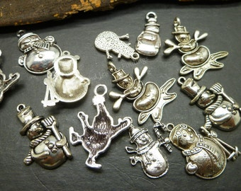15 Silver Snowman charms Collection -  Assorted Christmas Charms - Antique Tibetan Silver Charms - Mixed Designs -  MC0947