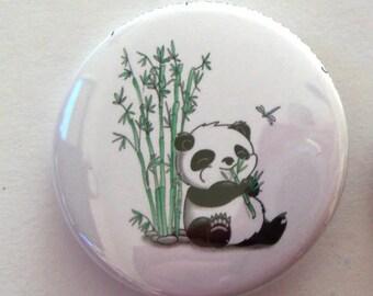 Panda Eating Bamboo Pinback Button