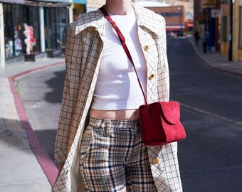 Plaid Jacket with Gold Buttons