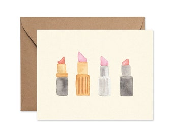 Lipstick Watercolor Illustrated Card