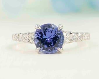 2.3 CT Tanzanite Diamond Engagement Ring.10 High Quality Diamond Ring.Solid 14K White. Yellow. Rose Gold. 8mm Natural Tanzanite Diamond Ring