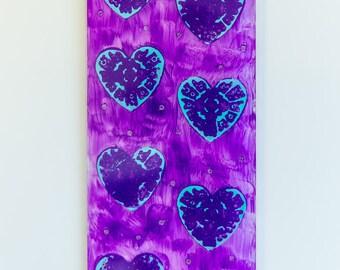Aqua Hearts Wall Hanging Art