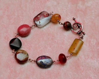 Multi, Small, Stone Bracelet With Sterling Silver