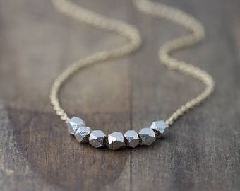 Silver Nuggets Gold Filled Necklace | Minimalist Gold Necklace Jewelry Gift for Women | Necklaces for Women | Handmade Jewelry | Burnish