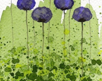 Sweet Memories -- Purple Flowers -- Original Watercolor Painting 4x6