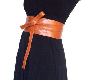 Wide Belt, Orange Leather Wrap Obi Belt, Women Stunning Tie Belt,  Fashion Belt, Stylish Belt, Leather Belts, Women Accessories