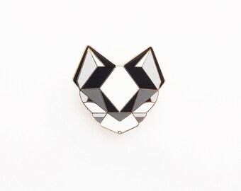Cat Brooch - Black and White Geometric Metal Pin