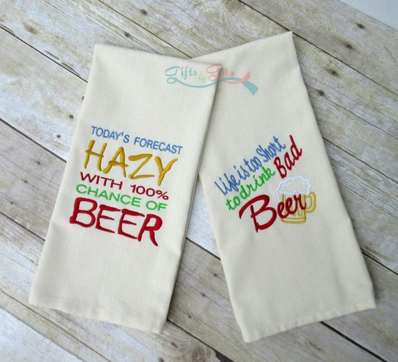 Beer Themed Towels: Beer Themed Embroidered Towel Set