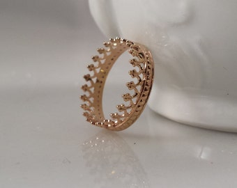 14k SOLID Gold Crown Ring - Filigree Stack Ring- Style 1