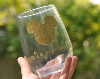 Disney wine glass disney gift disney princess wine glass stemless wine glass mickey wine glass minnie wine glass personalized glass glitter