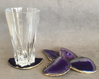 Set of 2+, 8-10cm Purple Violet Agate Stone Coasters with Gold edge-set of 2, 4 or 6 home decor