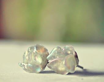 Opalite stud earrings Rough Gemstone stud earrings Spring post stud earring