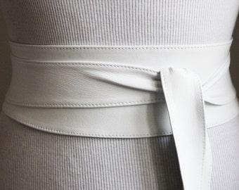 White soft Leather Obi Belt | Corset Belt | Real Leather Belts | Bride Bridesmaid Belt | Wrap Belt | Petite to Plus Size