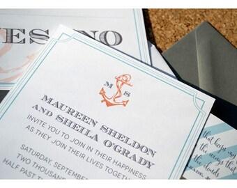 Nautical Anchor Monogram with Stripes Wedding Invitations - Stripes and Anchor Wedding Invite - Nautical Wedding - Monogram Anchor Wedding