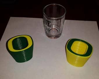Oregon Shot Glass inspired by University of Oregon O,  2-tone.