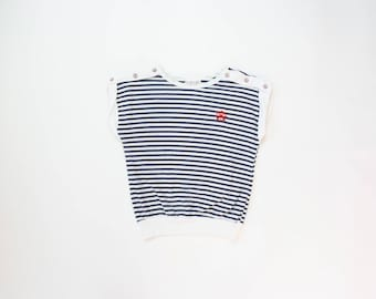 70s Sailor Top 1970s Striped Tee 1980s Dolman T-Shirt 80s Stripes Summer Blouse Nautical  Anchor Boatneck Soft Tee Slouchy Small