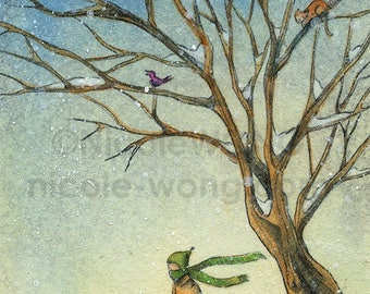 Original ACEO Painting -- Wintery Walk