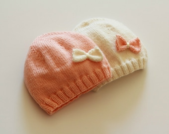 Newborn knitted baby hat / knit baby hat / hand knitted baby hat / baby girl hat / hand knitted baby clothing